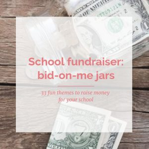 33 bid-on-me jars to raise money for your school. Themes include: all things fall, mindbender mania, fairy dreams, I'm flipping out & more.
