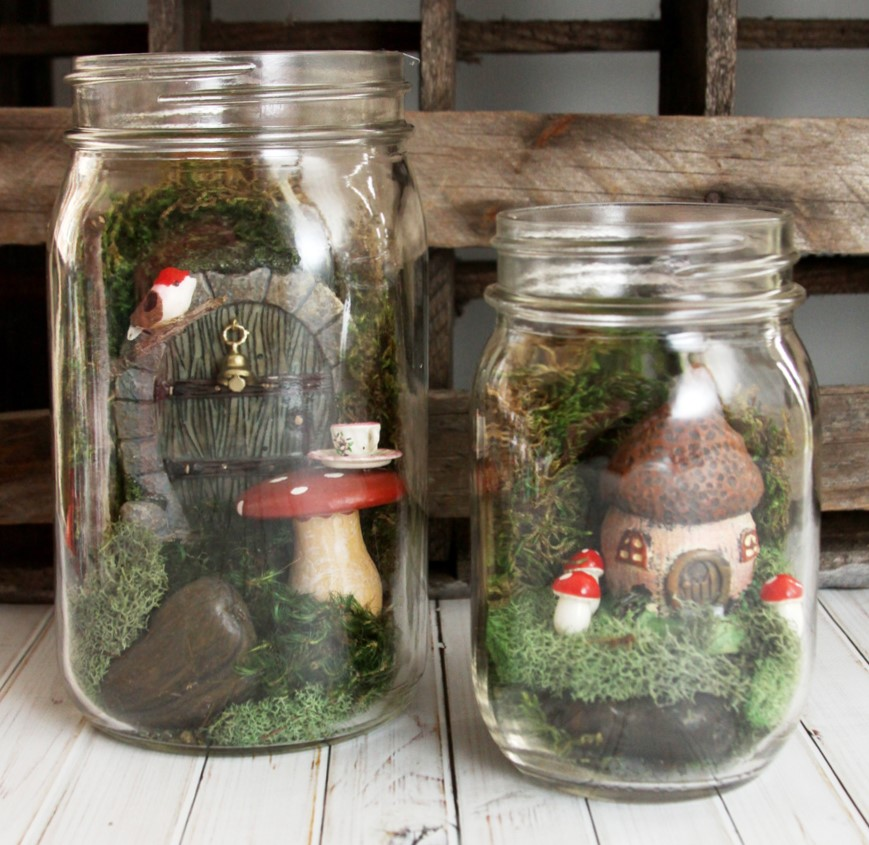 33 awesome school auction bid-on-me jars ideas. #8 is fairy jars! These mason jar fairy gardens are by Kristyn, creator of the Lil' Luna blog. See her tutorial if you'd like to make your own!