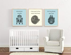 Nursery wall art and other decor ideas for a Star Wars-themed room