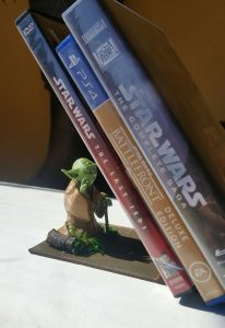 Yoda bookends and other decor ideas for a Star Wars-themed room