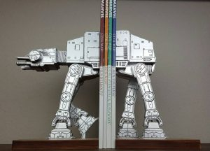 AT AT on a leash bookends and other decor ideas for a Star Wars-themed room