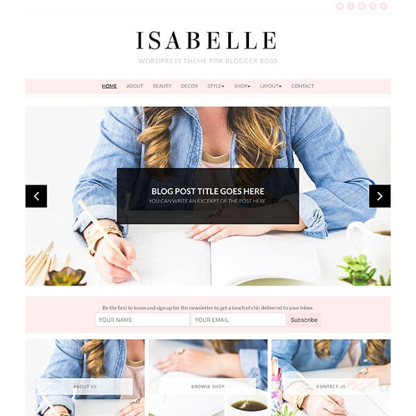 Feminine WordPress themes and templates for bloggers, influencers, thought leaders & female entrepreneurs.